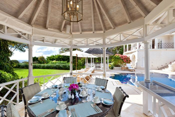 Outdoor gazebo with alfresco dining table